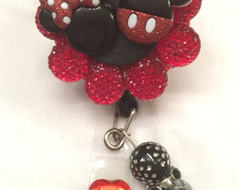 Mickey and Minnie retractable badge reel holder