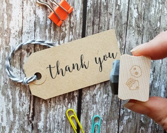 Thank You Sentiment Text Rubber Stamp - Thanks Stamper - Script Font - Card Making - Scrapbooking - Thanksgiving - Thank You Gift