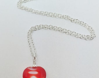 Red Lampwork Necklace Red and White Pendant Necklace Love Heart on a Chain Gift for Her Red Heart Jewelry Swirl Heart Necklace