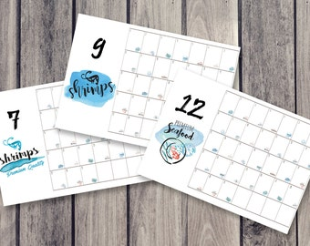 shrimp calendar, fridge calendar, monthly calendar, monthly planner, desk decal calendar