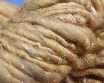 Handspun Lichen dyed Merino blended with light brown Suri Alpaca, Silk, Onion Skin Dyed Cotton & White Bamboo, REALLY soft, 100grams/75yards
