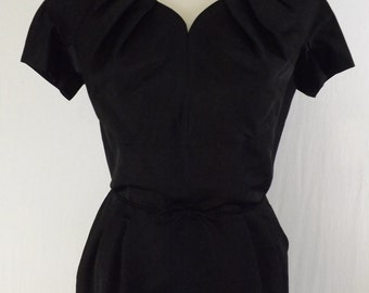 1950s 1960s Black Bombshell Pinup Alper Schwartz Dress Hello Joan Holloway LBD Little Black Dress