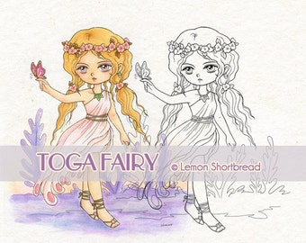 Digital Stamp Flower Toga Fairy Girl, Digi download, Butterfly, Fantasy Garden, Clip Art, Coloring page, Scrapbooking Supplies