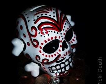 Black And Red Día de Muertos Skull And Cross Bones Money Box
