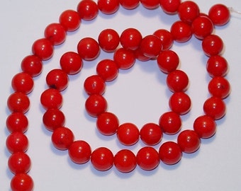 16 inch strand of Red Bamboo Coral round beads - 6.5mm
