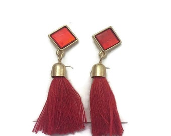 Tassel Earrings, Red Cotton Tassel Earrings, Boho Style Tassel Earrings, Dangle Tassel Earrings, Drop Tassel Earrings, 2 Inches Long