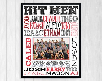 VOLLEYBALL COACH GIFT ~ Personalized Volleyball Team Photo ~ End of Season Volleyball Team Gift ~ Boys Volleyball ~ Coaches Thank You
