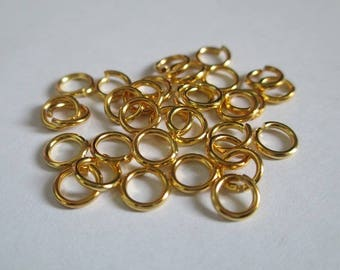 Set of 50 6mm color gold plated jump rings