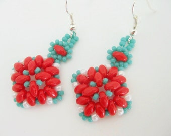 Beaded Earrings / Superduo Earrings in Turquoise, Red and White / Seed Bead Earrings / Sterling Silver Earrings / Beadwoven Earrings