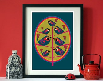 Tree life a bird print by Jay Kaye  A3 print  Scandinavian modernist Style