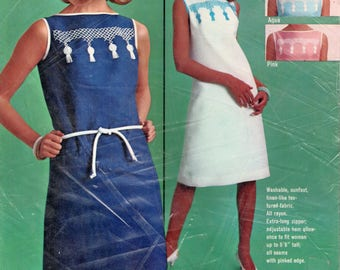 "Vintage HIAWATHA Kit Cross Stitch Dress LARGE bust 38"" White and Turquoise Dress 1960s Shift Dress Kit Cross Stitch Kit Erica Wilson Kit"