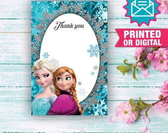 Printed or Digital - Frozen Thank you card, Frozen Party, Frozen Birthday, Princess Elsa Printed Thank You Card, Frozen Decoration