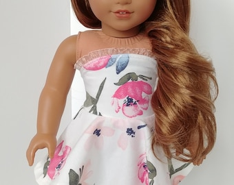 Fits like American girl doll clothes. 18 inch doll clothing. Doll dress. Cream and pink floral strapless dress