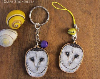 Keychain - Charm - Strap - Barn Owl