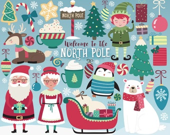 Christmas Clipart -  North Pole Clipart, Holiday Clipart, Christmas Clip Art Set, Santa and Christmas Design Elements, Vector Clipart