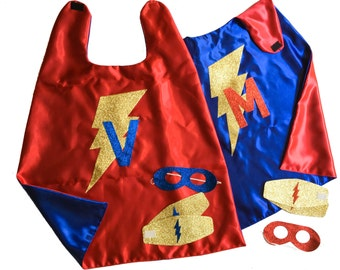 Red Blue Gold Superhero Cape - Sparkle Accessories - Gold Lightning Bolt Cape - Superhero CAPE AND ACCESSORIES - Gold Glitter Superhero