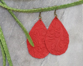 Red Embossed Leather Tear drop