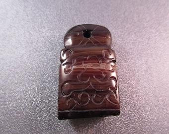 Tibetan Black Sardonyx Agate Longevity Amulet Pendant 1pc