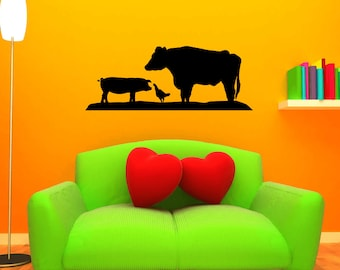 Farm Animal Decal LARGE Wall Decor Mural Sticker Pig Cow Chicken