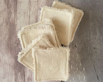 BULK BUY - Mini Cleansing Pads - 5 cm x 5 cm - Make-up Remover Pads - Organic Cotton Terry Towelling - Organic Flannel - Washable