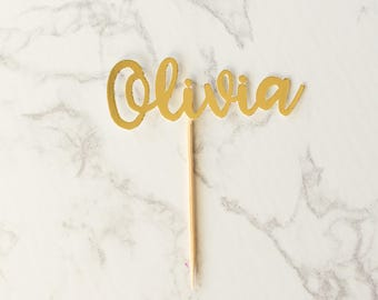 12 CT Personalized Cupcake Topper Glitter Name Cupcake Topper First Birthday Cupcake Topper Pink & Gold Birthday Party Custom Cupcake Topper