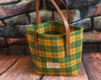 Harris Tweed tote faux leather everyday bag ready to ship grab and go tote