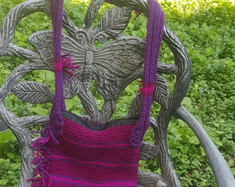 Red and Purple Striped Over-The-Shoulder Knitted Purse with Zipper and Fringe