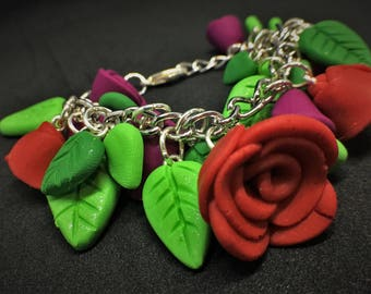 Chunky Overstuffed Rose Flower Bracelet Polymer Clay Various Colors