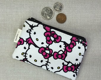 Coin Purse - HELLO KITTY - Cute Wallet - Zipper Coin Pouch - Change Wallet - Zipper Bag - Cats - Card Wallet - Kawaii Gift - Kids