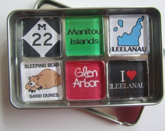 GLEN ARBOR, Glen Lake, Sleeping Bear, Leelanau, M22, Michigan, Manitou Islands, Up North Michigan, Magnets Set, Northwest Michigan Souvenir