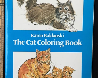 The Cat Coloring Book Dover Nature Coloring Book Staple Bound1980 by Karen Baldauski Vintage Colouring Book.