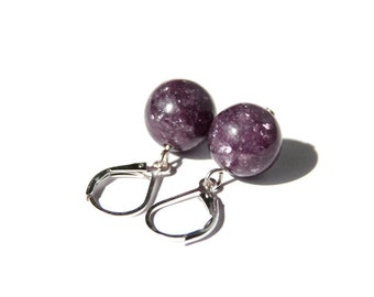 Lepidolite Sterling Earrings Dark Purple Sparkle Natural Stone Bead Plum Berry Eggplant Purple Earrings Minimal Style Leverback #18436
