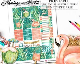 Flamingo Planner Stickers for Erin Condren Lifeplanner/Printable Planner Stickers/Summer Planner Stickers/Tropical Planner Stickers/