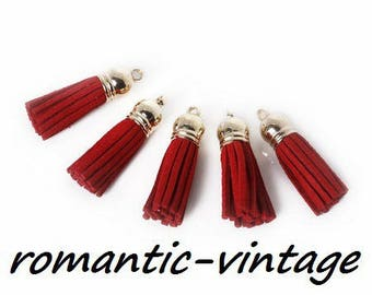 2 pendants red suede and gold tips 38mm