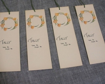Vintage 4 Art Deco Tulip Bridge Tallies - Green Tassels