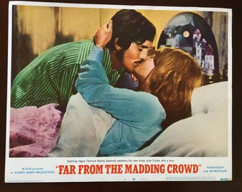 Lobby card from Far From the Madding Crowd, Stamp/Christie kiss.