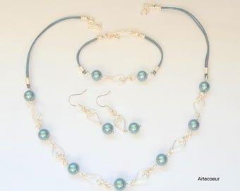 Parure tendance 3 pièces Nacre de Majorque bleue turquoise motifs feuilles fil de cuir et fil enroulé