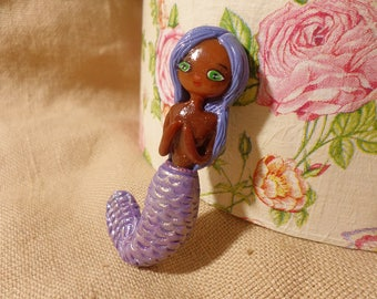 Purple Mermaid, Cute black mermaid, Cute mermaid necklace, Polymer Clay mermaid, Polymer Clay Necklace, Sea gifts Mermaid, Beach Jewelry