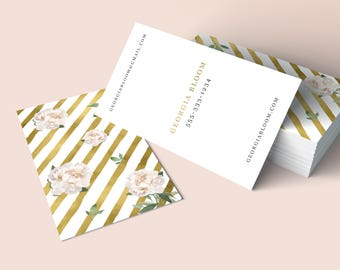 Premade Business Card, Peonies Business Card, Gold Foil Business Card, Printable Business Card,Watercolor Business Card, Event Business Card