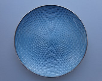 Remarkable Miniature Circa 1900 Light Blue Enamel Guilloche Silver Plate Tray !