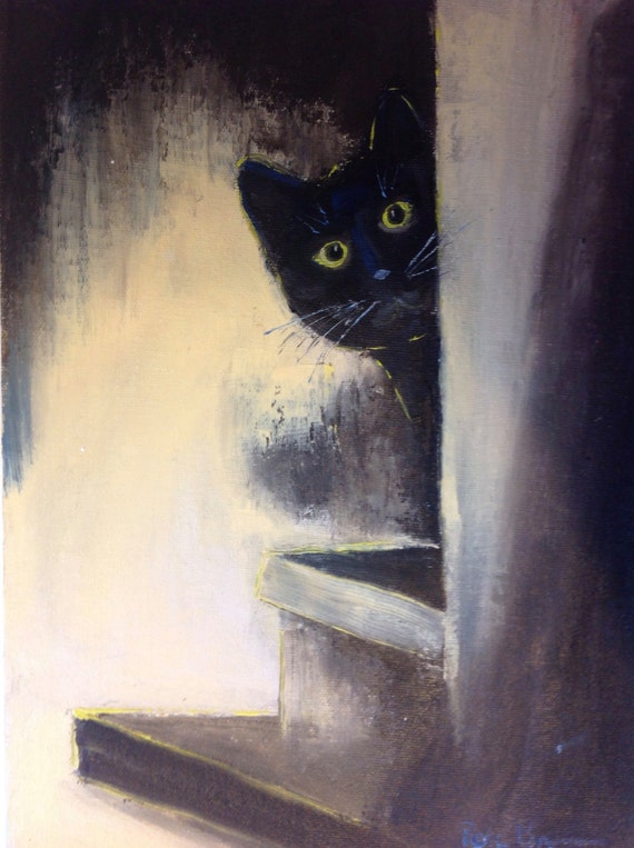 Cat Lover Painting, City Art, Hide and Seek, Animal Art