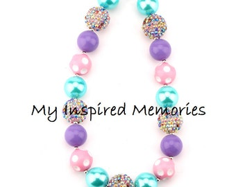 Free Shipping. pink purple turquoise bubblegum necklace, spring bubblegum necklace,  spring chunky bubblegum necklace