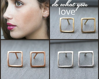 Square earrings, Square Studs, rose gold stud earrings, Geometric earrings stud, geometric stud earrings gold minimalist studs tiny