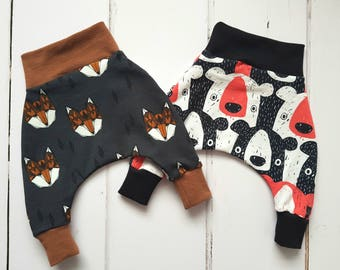 fox baby joggers, organic baby clothes, new baby clothes, baby boy gift, newborn clothes, woodland baby clothes, baby harem pants