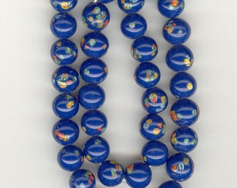 SALE FULL STRAND 40 Vintage Japan Dark Blue Millefiori Glass Beads From Original Strand. 9.5-10mm No.345