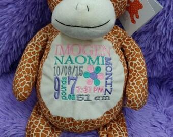 Personalized baby gift, birth announcement, best baby gift ever, plush, stuffed animal, giraffe, Embroider Buddy, keepsake, subway art