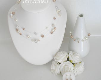 Wedding Noumea rhinestone beige and ivory 3 piece set