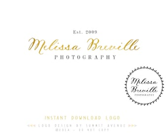 DIY INSTANT DOWNLOAD - Golden Calligraphy Premade Logo Design for Photography or Boutique by Summit Avenue