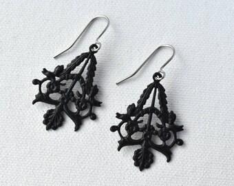 Dangle Earrings  - Black Earrings - Gift for Her - Hypoallergenic - Filigree Earrings - Surgical Steel - Birthday Gift - Gift under 15