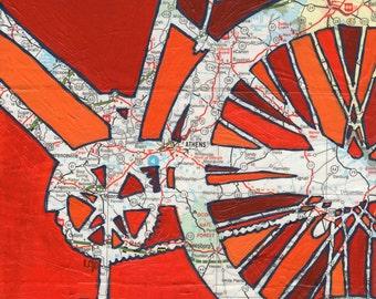 Athens- small bike print- featuring Athens, University of Georgia, bike art of original map painting